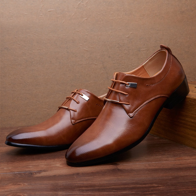 Men Leather Shoes Fashion Business Flats Lace Up Pointed Toe Oxford Shoes