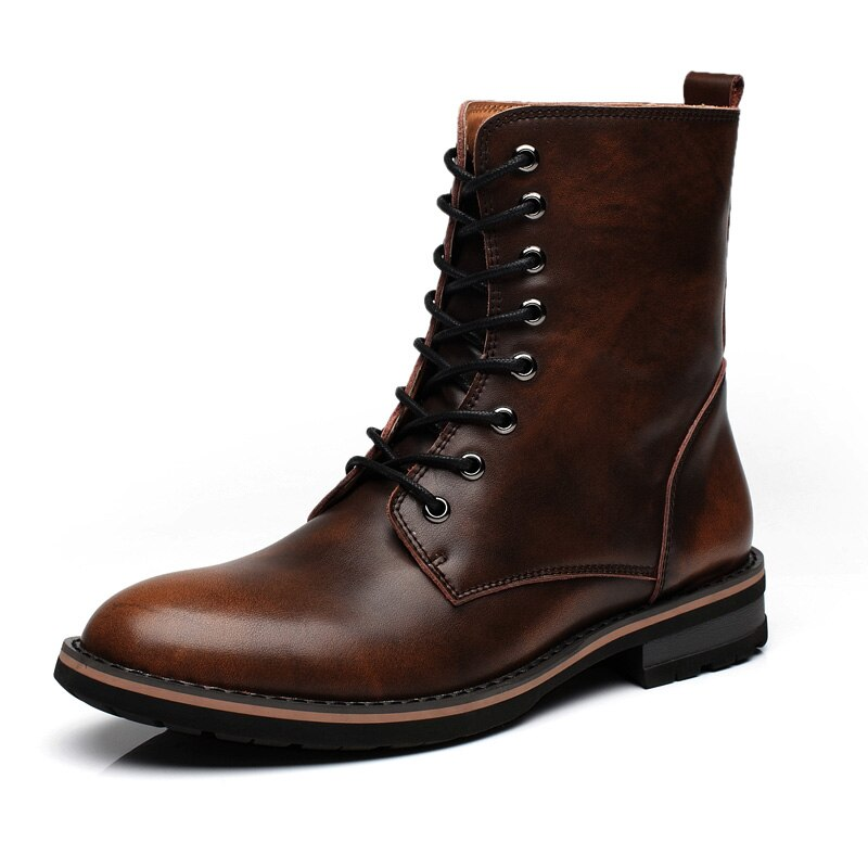 Men's Genuine Leather Casual Martin Boots High Top Lace Up Combat Boot Round Toe