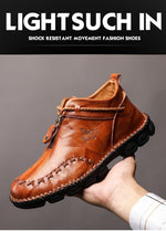 Handmade Genuine Leather Men Boots Fashion Zipper Shoes Male Cow Leather Man Brown Ankle Boots