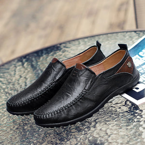 Split Leather Men Loafers Fashion Casual Shoes Driving Slip On Loafers Men Flat Shoes