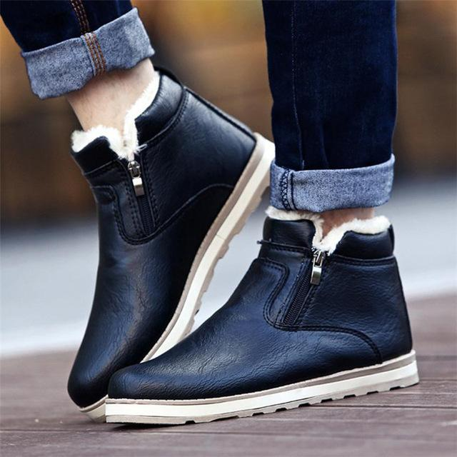Men's Winter Warm Boots Plush Snow Ankle Boots Fur Leather Footwear
