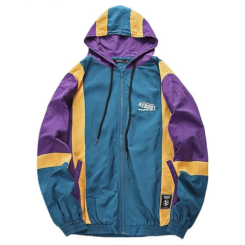 Streetwear Vintage Color Block Hooded Windbreaker Jacket
