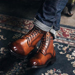 Vintage Martin Boots | Men's High-Cut Lace-up Rivet British Shoes