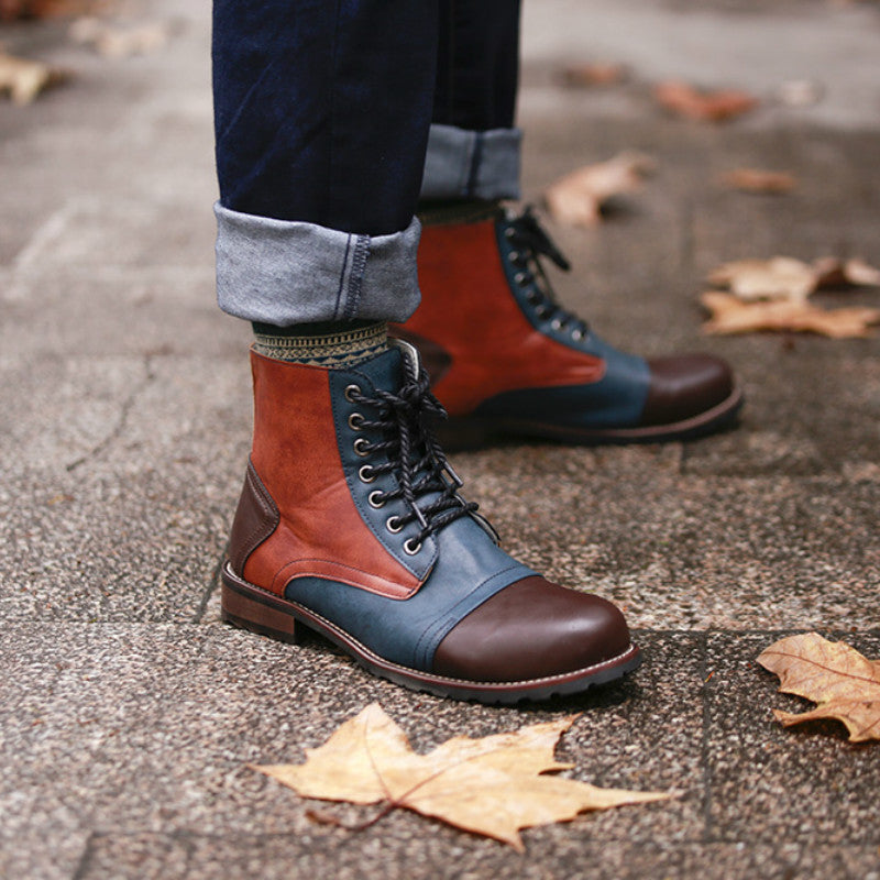 Male Lace Up Warm Ankle Boots Men Pu Leather Winter Shoes