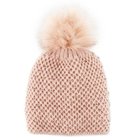 Krystal Pom Winter Knit Hat