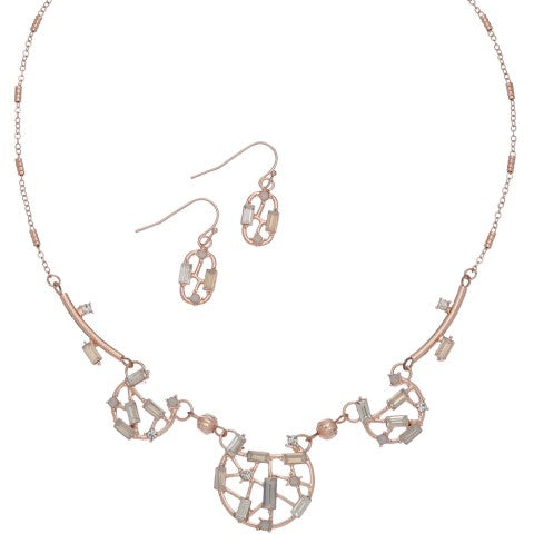 Rose Gold and Opal Necklace and Earring Set