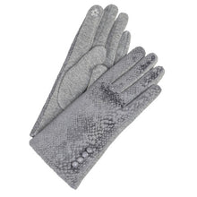 Snake Print Texting Gloves with Button Accent
