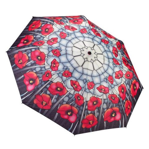 Stained Glass Poppies Reverse Close Folding Umbrella