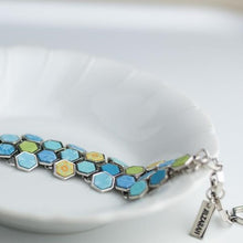 Seaside Blue Hexagon Toggle Bracelet