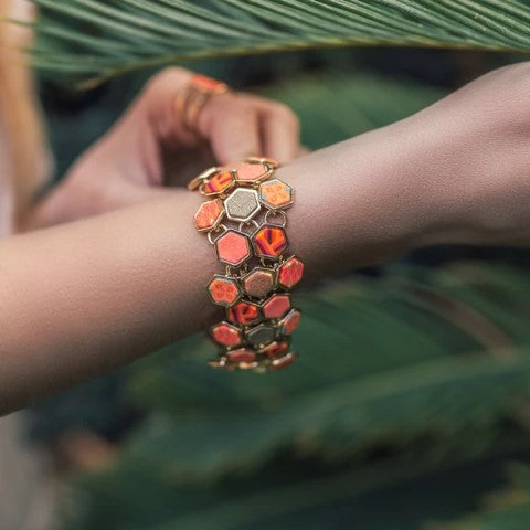 Coral Crush Hexagon Toggle Bracelet