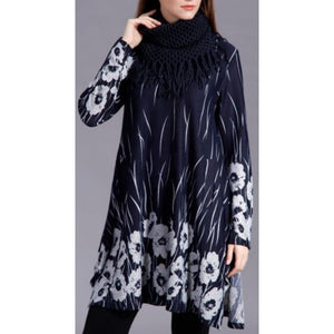 Abstract Floral Field Pattern Tunic with Scarf