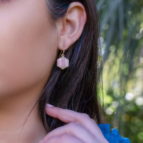 Pink Salt Reversible Hexagon Earrings