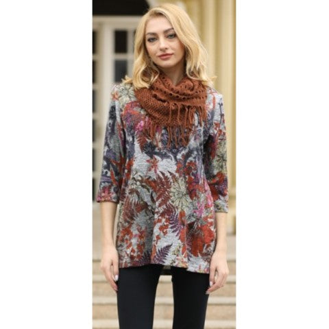 Fall Leaves Tunic with Scarf