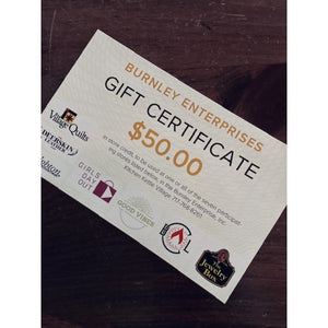 Burnley Enterprises Gift Certificate