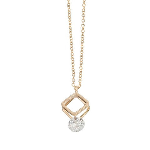 Cubic Zirconia Double Triangle Dazzler Necklace