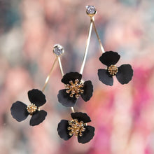 Double Flower Drop with Crystal Post Earrings