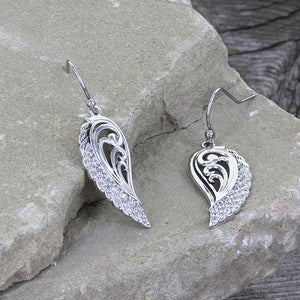Open Feather Drop Earrings