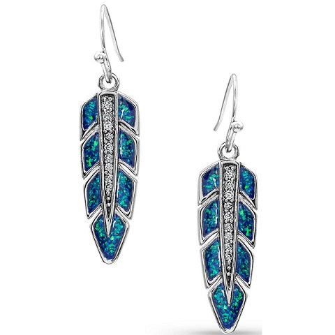 Hawk Feather Opal Earrings