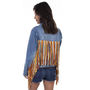 Colorful Fringe Denim Jacket
