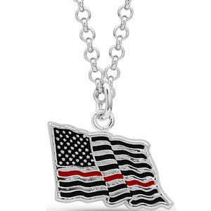 I Stand Behind the Thin Red Line Flag Necklace