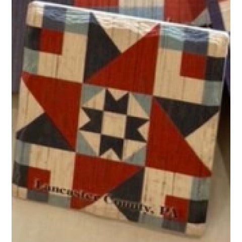 Red White Blue Barn Quilt Coaster