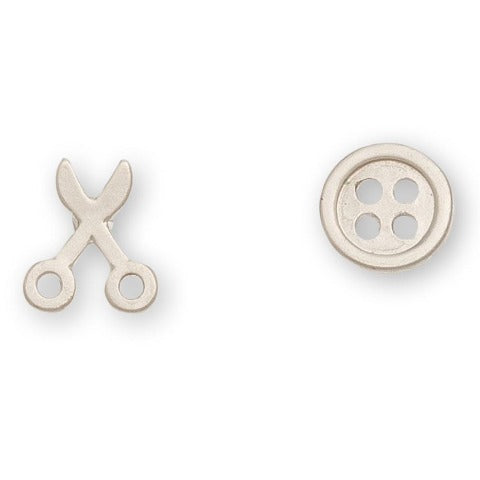 Button & Scissors Stud Bud Earrings