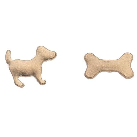Dog & Bone Stud Bud Earrings
