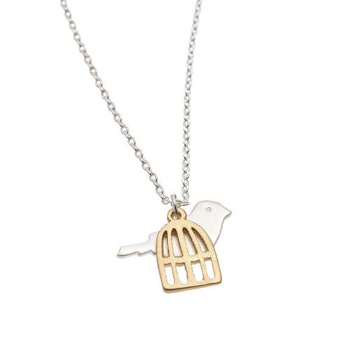Bird and Cage Stud Bud Necklace