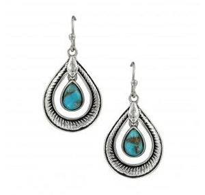 Turquoise Rope Teardrop Earrings