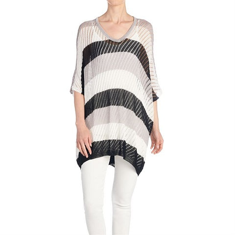 Stripped Pointelle Sweater