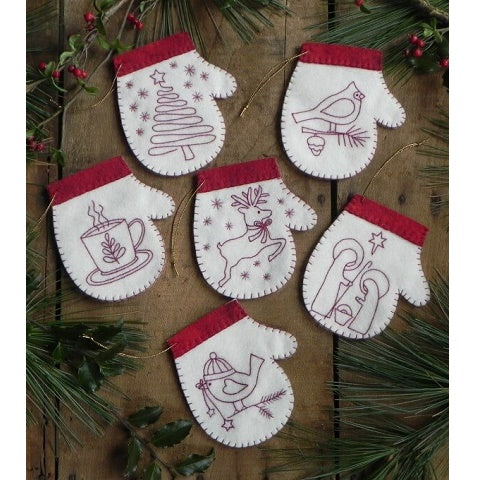 Red Work Mittens Ornament Kit