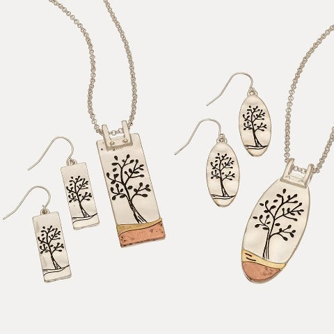 Tree Etch Pendant Necklace & Earrings
