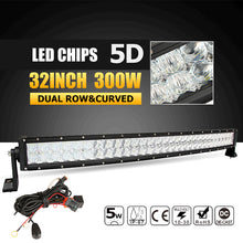 "Oslamp 5D 22"" 32"" 300W Curved LED Light Bar Offroad Led Work Light Bar Combo Beam Led Bar 4x4 ATV UTV Truck Boat Pickup 12v 24v"