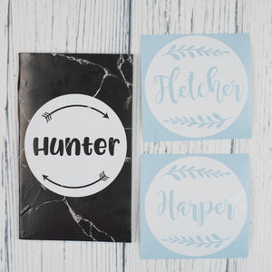 Name Decals | Small | Round set of 2+