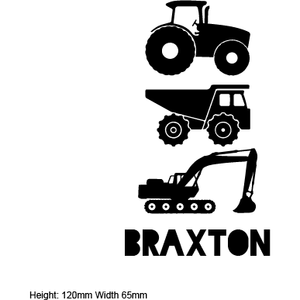TRACTOR, DIGGER  | Shaped Name Decal