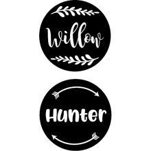 Name Decals | Med | Round Set of 3+