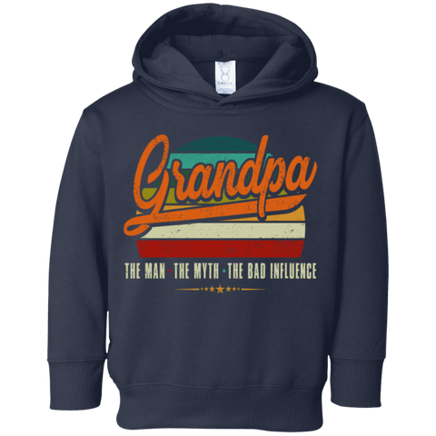 54,Grandpa the man the myth the bad influence retro Rabbit Skins Toddler Fleece Hoodie