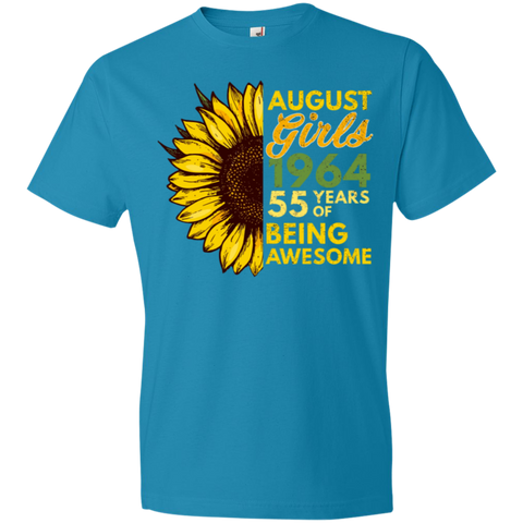 43,August Girl 1964 55 Years Awesome Sunflower Anvil Lightweight T-Shirt 4.5 oz