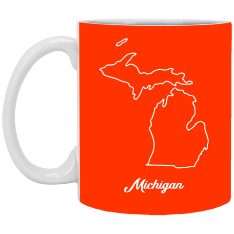 13,Michigan map White Mug