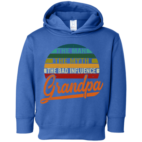 35,Grandpa the man the myth the bad influence vintage Rabbit Skins Toddler Fleece Hoodie