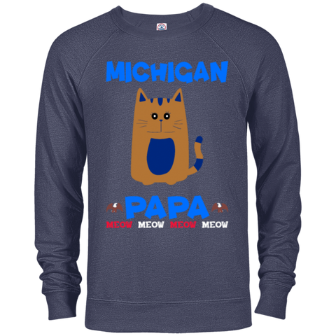 86,Michigan Papa T-shirt Mug Pillow Gift Delta French Terry Crew