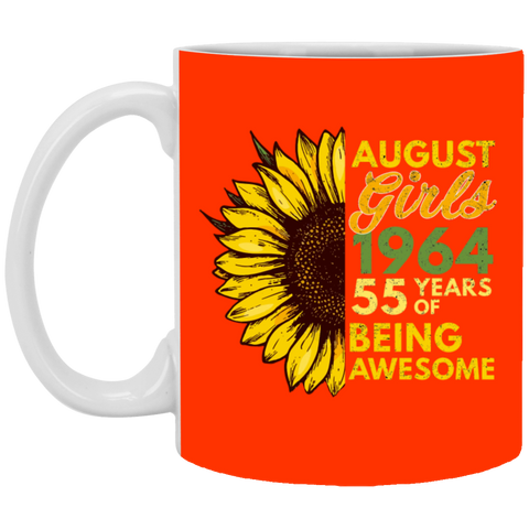 43,August Girl 1964 55 Years Awesome Sunflower White Mug