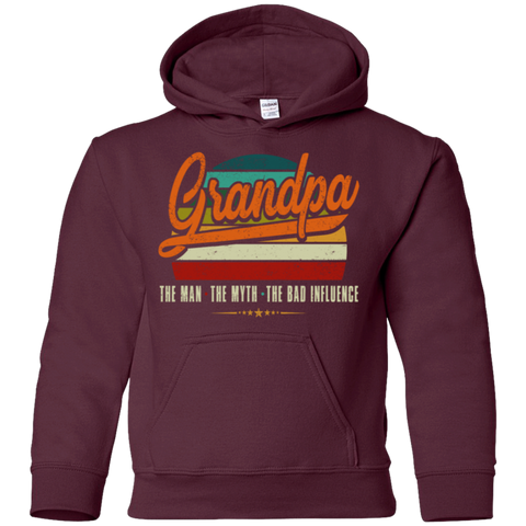 54,Grandpa the man the myth the bad influence retro Gildan Youth Pullover Hoodie
