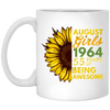 Image of 43,August Girl 1964 55 Years Awesome Sunflower White Mug