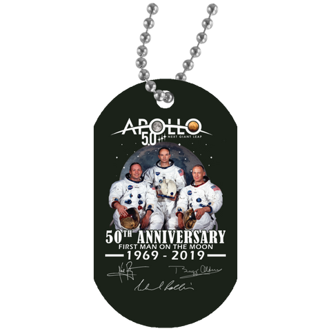Apollo - First Man On The Moon White Dog Tag