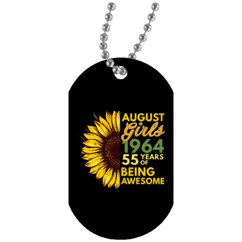 43,August Girl 1964 55 Years Awesome Sunflower White Dog Tag