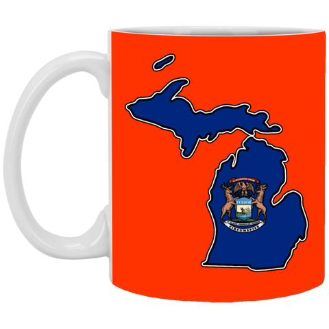 14,Michigan Flag Map White Mug