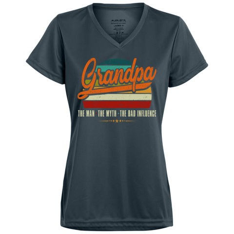 54,Grandpa the man the myth the bad influence retro 1790 Augusta Ladies' Wicking T-Shirt