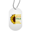 Image of 43,August Girl 1964 55 Years Awesome Sunflower White Dog Tag