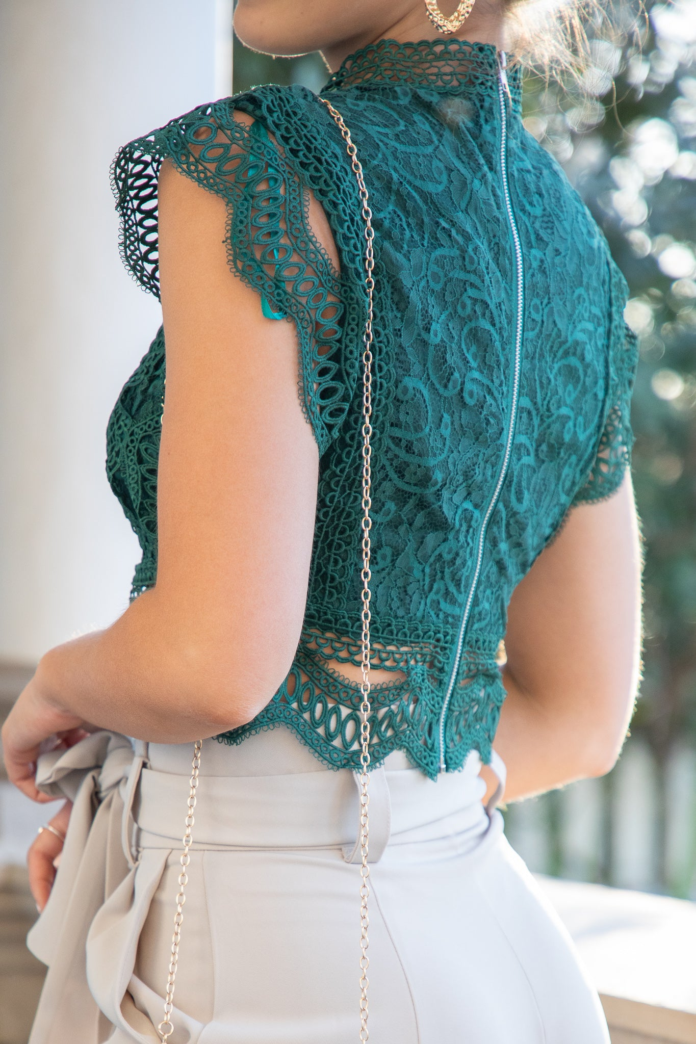 green high neck lace top